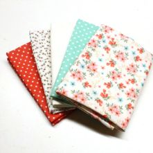 Pack of 5 100% Cotton Mixed Prints Coral & Mint Green Fat Quarters